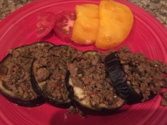 Roasted Eggplant with Ground Beef and an Heirloom Tomato Salad