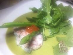 Asparagus Creme Brûlée and Salmon