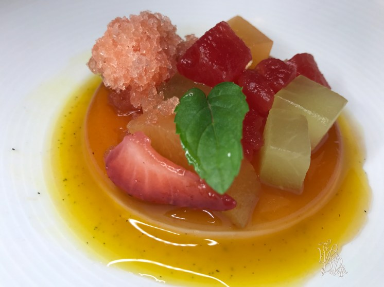 White Chocolate Creméux: guava pate de fruit, watermelon granita, passionfruit