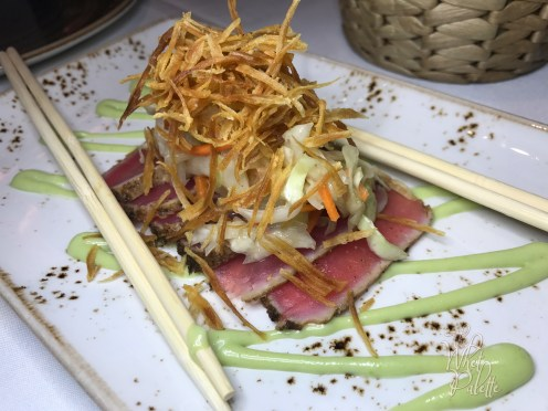 Caribbean Spiced Tuna Tataki: green papaya slaw and wasabi aioli