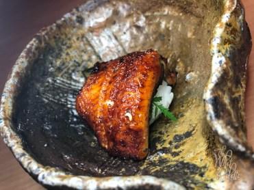 UNAGI KABAYAKI with Kyuuri Kasazuke. Basted freshwater eel with citrus lace, organic cucumber pickled in sake lees and organic Sichuan pepper.