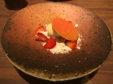 FROZEN MUGWORT MARSHMALLOW: rice cream, albion strawberry, koji