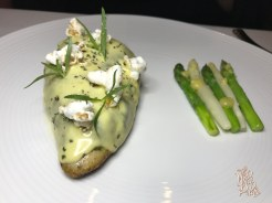 Poulet Rouge: rosemary, preserved lemon, asparagus, popcorn hollandaise