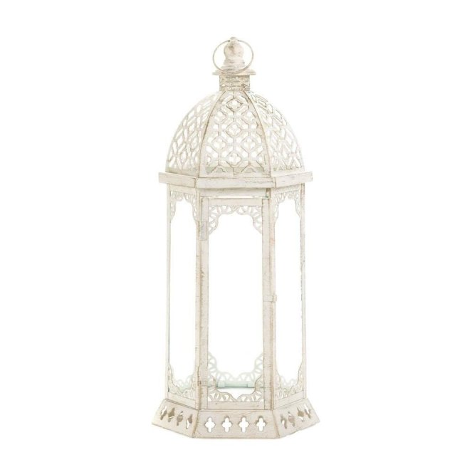 KOEHLER Graceful Distressed White Large Lantern