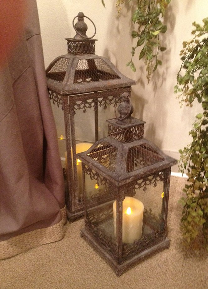 Large Brown Metal Candle Lanters with Filagree Trim (set of 2)