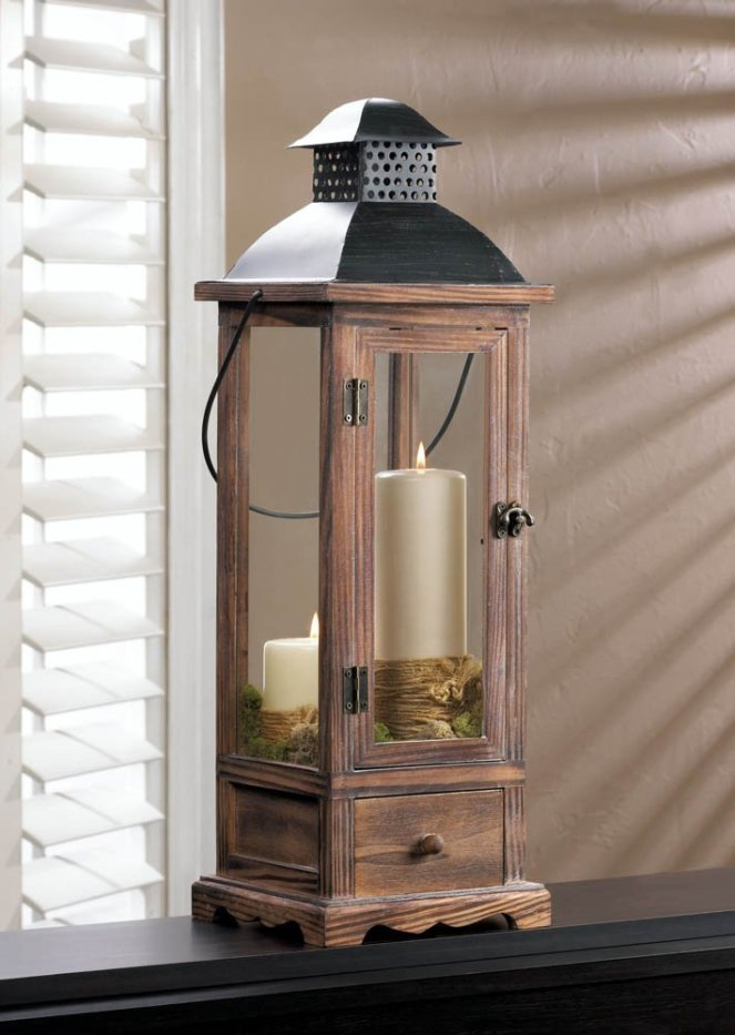 Large Wooden Lantern With Drawer
