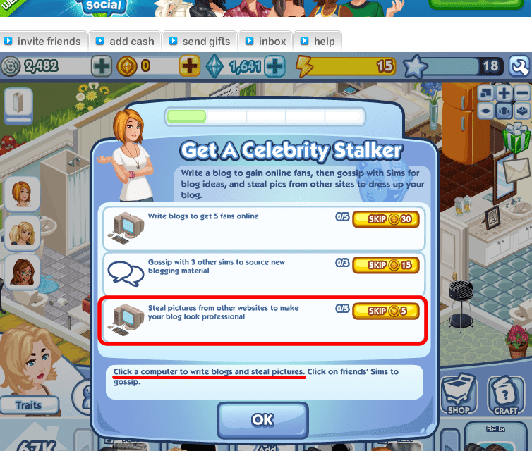 The Sims Social Facebook game promotes questionable blogging ethics