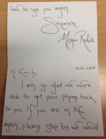 returned phone
