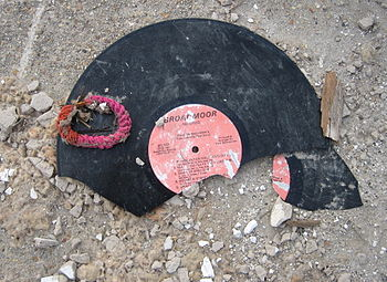 A broken Broadmoor record in debris in the for...