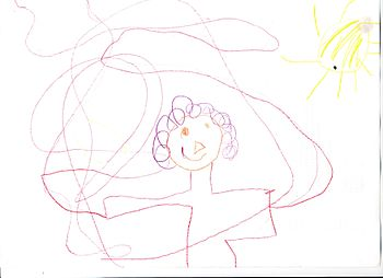 scan of child's drawing of the Transit of Venu...