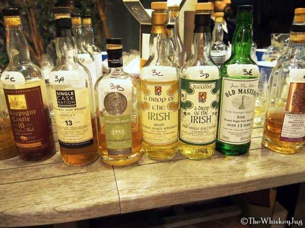 Malt Nuts: Irish Single Malts Round 3 Whiskeys - 3A: Single Cask Nation Cooley 13 years (02-15): 54.8% - Refill Oloroso Butt, 3B: Exclusive Malts 13 years Single Malt irish (02-15): 54.2%, 3C: Black Adder A Drop Of The Irish: 60.4%, 3D: Black Adder A Drop Of The Irish 8 years (08-16): 58%, 3E: Old Master's Peated Irish 13 years (92-05): 59.6%