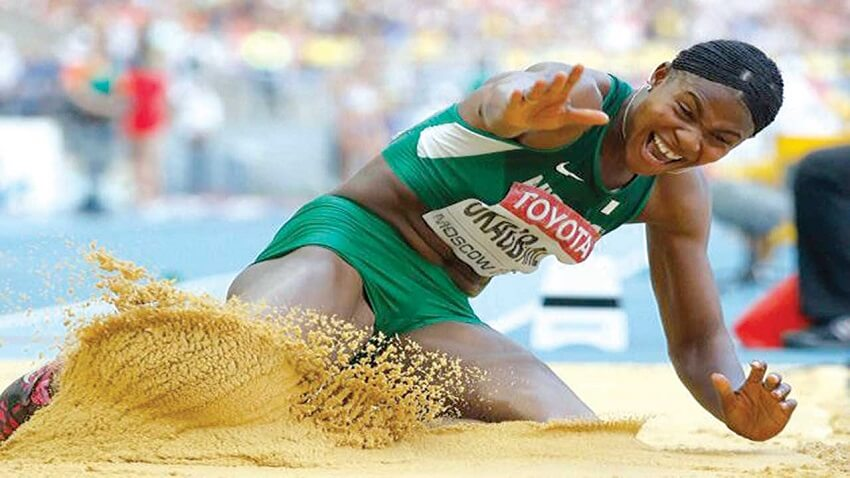Image result for WAC: Okagbare thorough to Long Jump final, Brume loses out