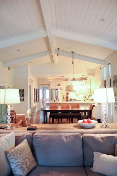 open kitchen with ceiling beams Vaulted Ceilings - White or Wood