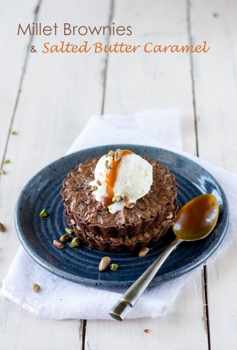 Millet Brownies With Salted Butter Caramel 1
