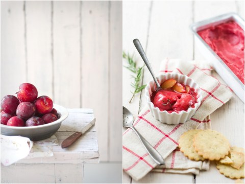 Plum Sorbet With Rosemary Shortbread Cookies 8
