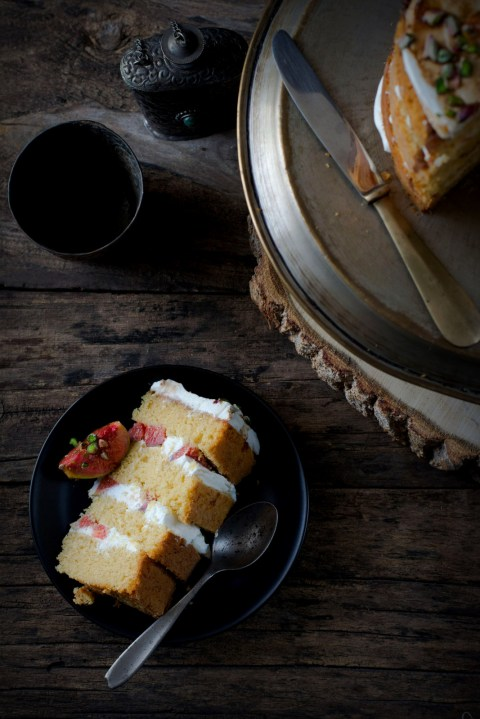 Buttermilk Country  Layered Cake With Mascarpone & Orange Balsamic Glazed Figs