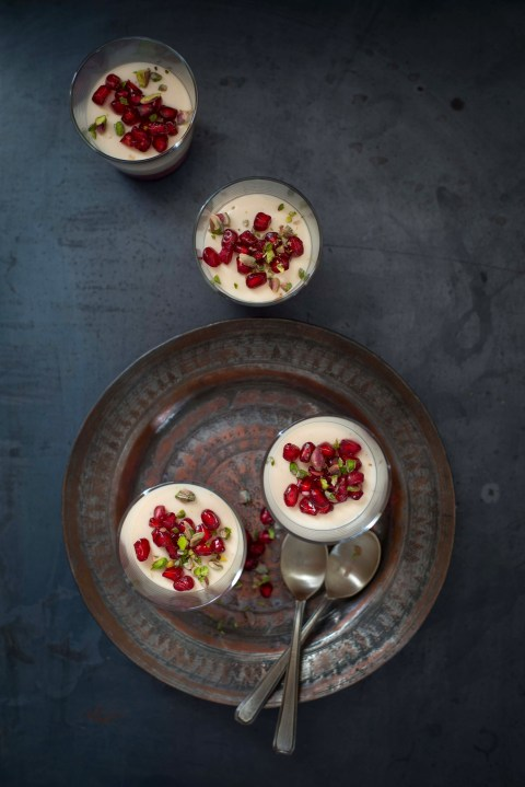 Baklava Spiced Panna Cotta With Pomegranate Jelly