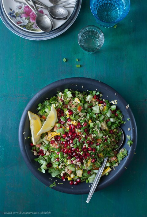 Grilled Corn & Pomegranate Tabbouleh