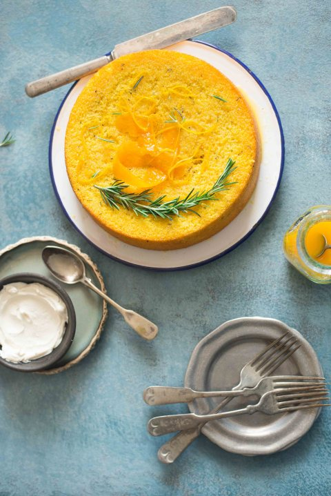 whole orange and semolina cake with rosemary syrup