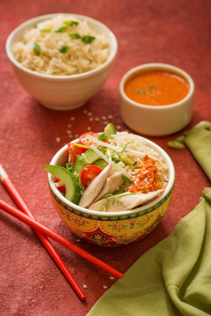 chinese poached chicken & rice