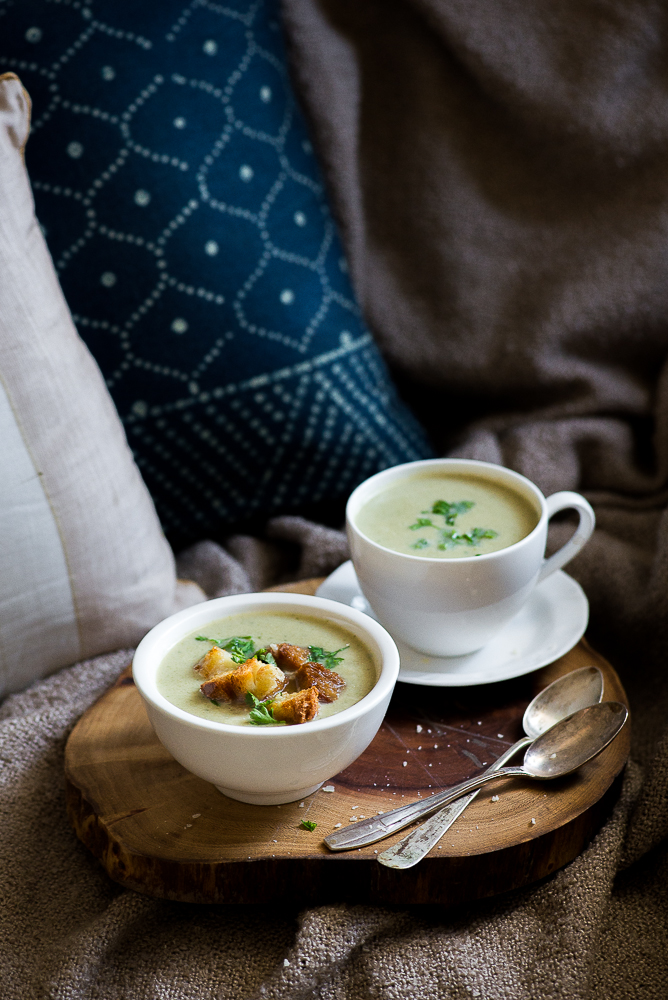 mushroom soup with parmesan croutons
