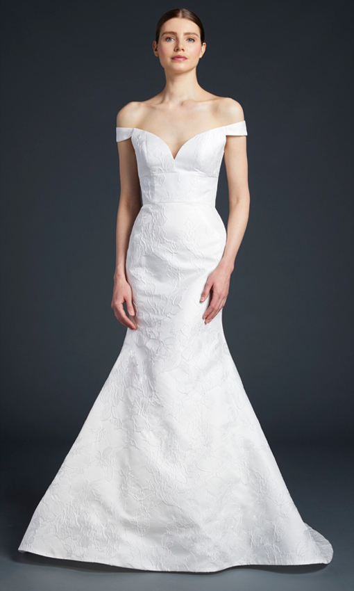 anne barge off the shoulder embossed jacquard gown