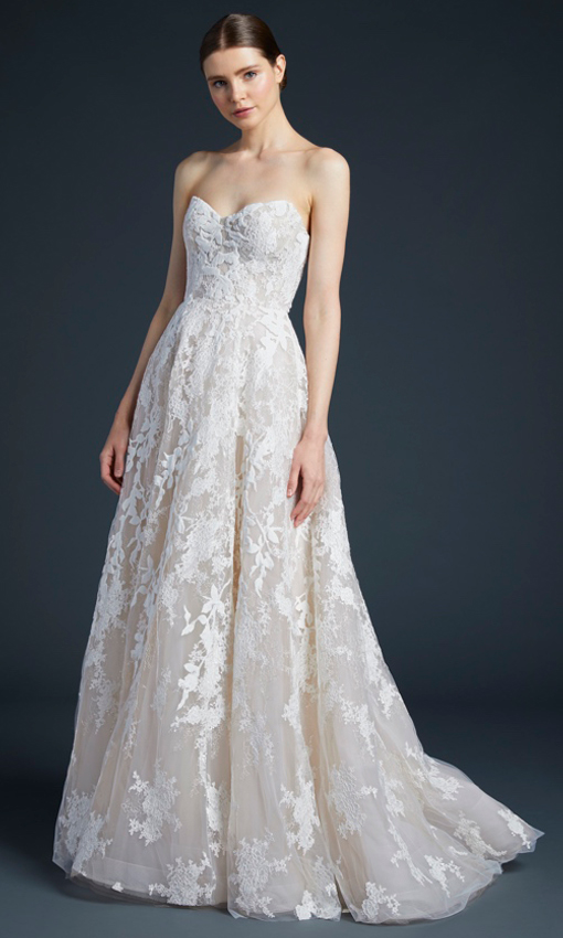 anne barge strapless aline beaded gown