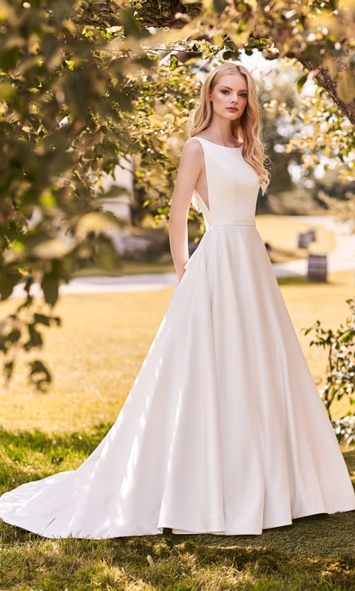 satin aline high neck gown big back bow