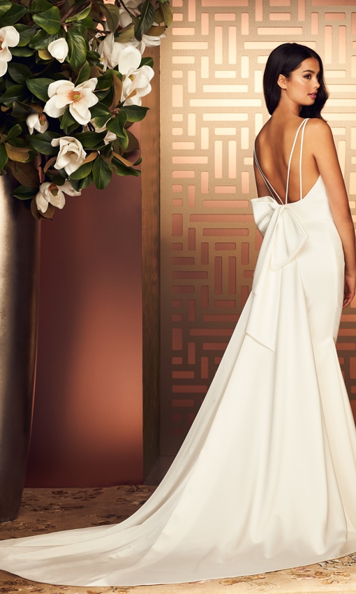 low back high neck satin gown with bow