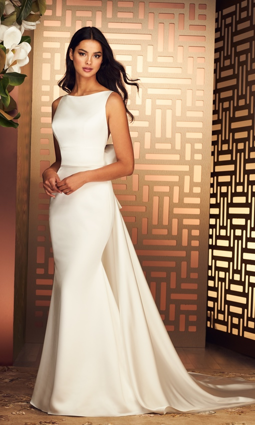 Paloma Blanca satin high neck low back gown