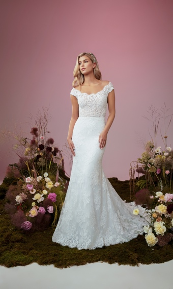 Off the shoulder lace bodice wedding gown with lace hemline