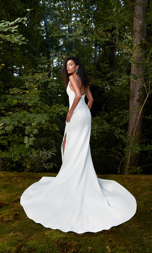 Anne Barge Crepe sheath gown with train