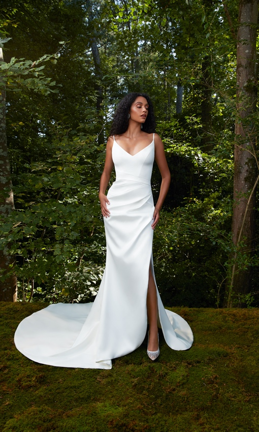 V-neck crepe rouched gown with front slit