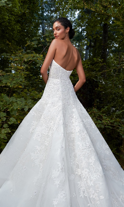 Strapless fit to flare full skirt gown with lace