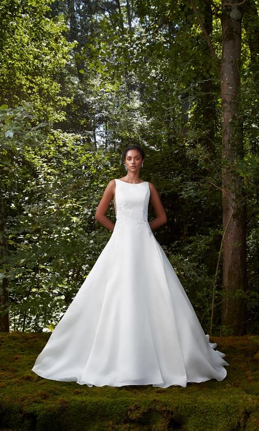 Bateau neckline A-line gown