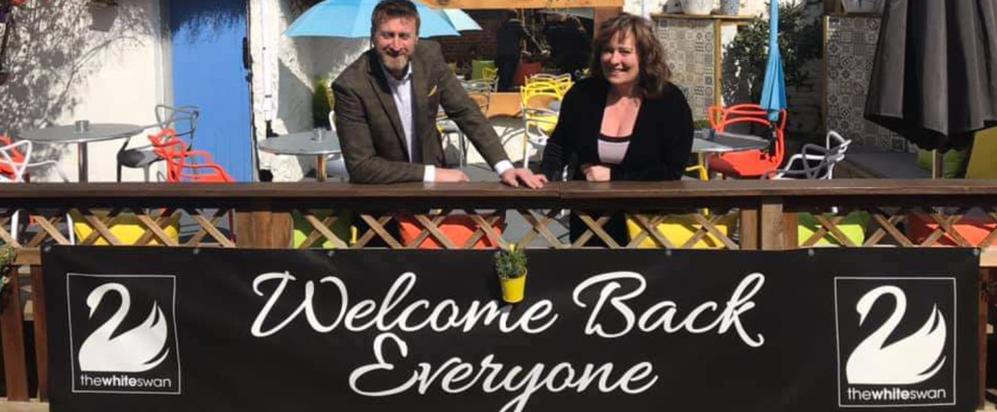 Nigel and Maria welcome everyone back to the White Swan in Henley