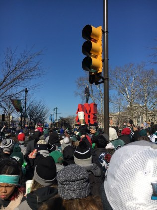 The parade made its way down the route, with plenty of eager fans there to salute the players as they passed. -Photo courtesy of Jake Collins