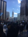 As the parade ended, the crowd made its way back down the Ben Franklin Parkway. -Photo courtesy of Jake Collins