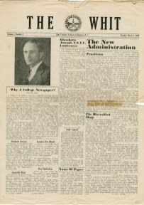 The original front page of The Whit, first published on March 1, 1938. -Photo from university archives