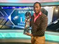 Lance Johnson, a Rowan student interning at FOX 29, got to hold the Lombardi Trophy when it was brought into his workplace. -Photo courtesy of Lance Johnson