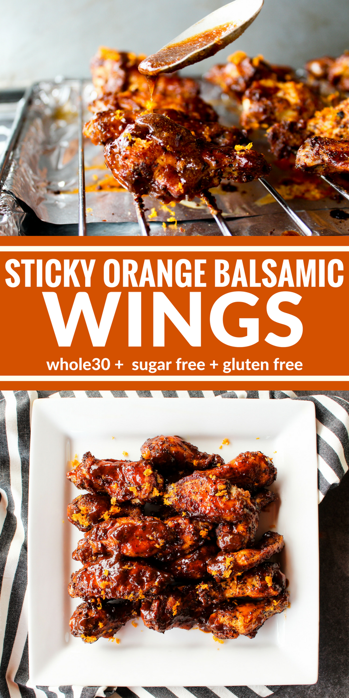 Chicken wings are getting a citrus makeover in this Sticky Orange Balsamic Wings recipe. You'll be licking your fingers in no time at all. Plus it's Whole30, sugar free, and gluten free!