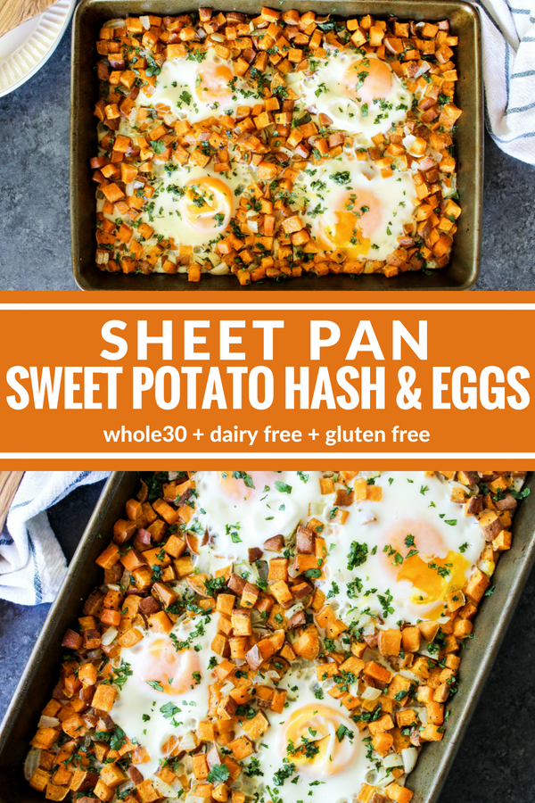 Sheet Pan Sweet Potato Hash & Eggs is an easy and satisfying complete breakfast! Bake and serve for a healthy way to start the day!