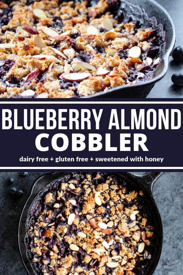 This Skillet Blueberry Almond Cobbler is dessert perfection and seriously swoon worthy! You won't believe it's dairy free, gluten free, and sweetened with honey!
