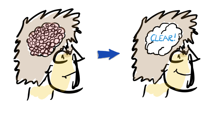 A drawing depicting how the successful construction project manager has a clear head.