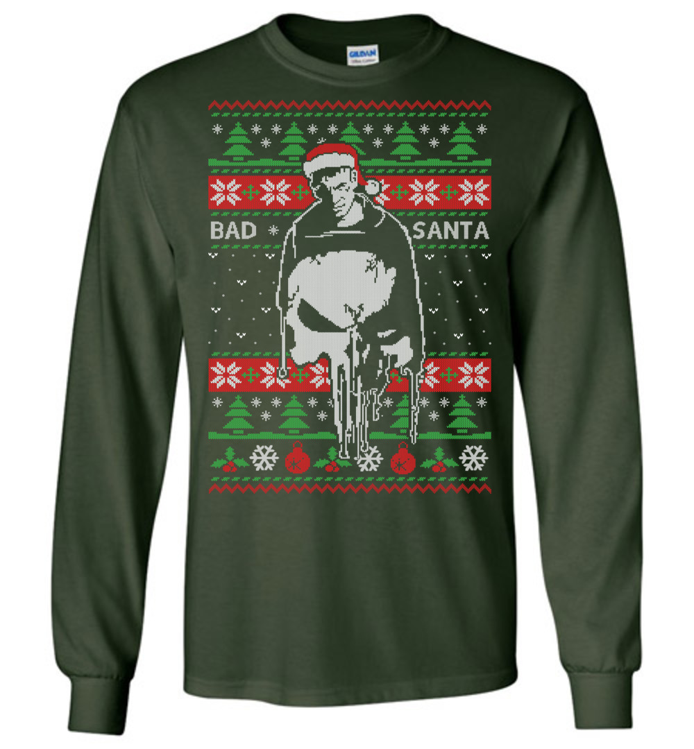 The Punisher Bad Santa Ugly Christmas Sweater The