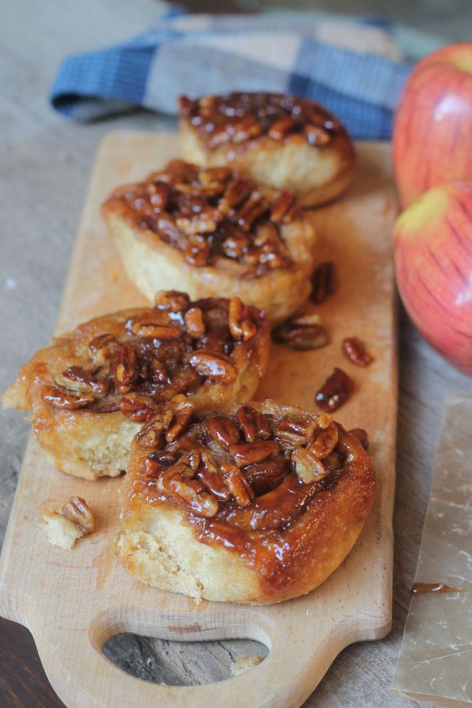 Sweet juicy apple tossed in cinnamon, brown sugar, rolled up in soft tender bread. It's like eating a cinnamon apple pie.