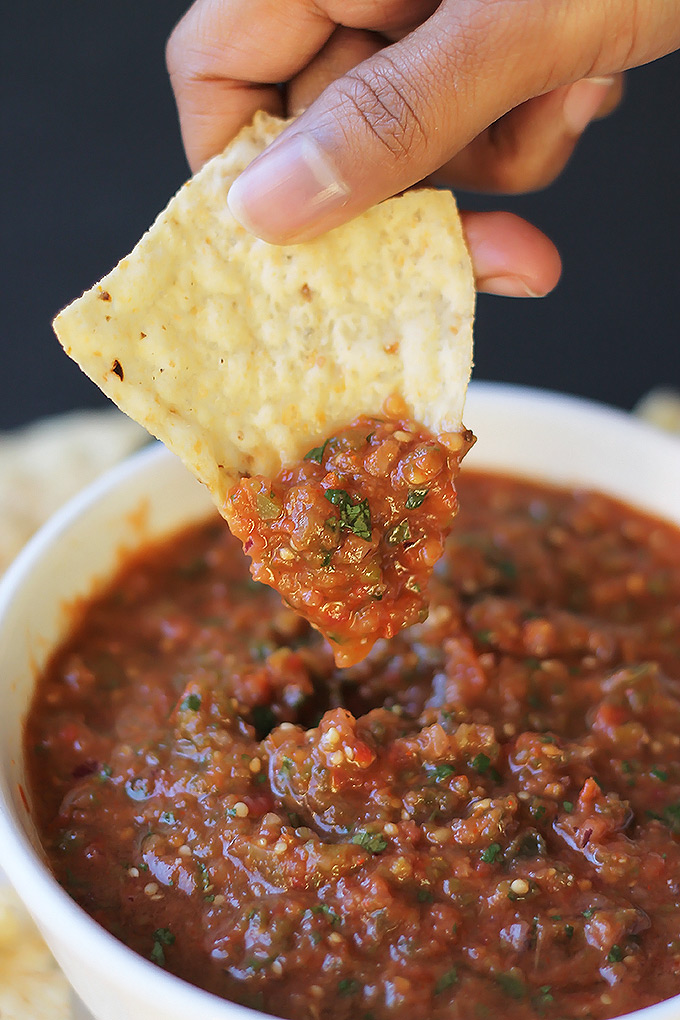Roasted Tomatillo and Tomato Salsa- Bold with flavor and so easy to make and that's a good thing, because your guest will fall in love with this salas.