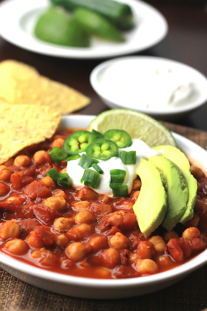 Ready in under 30-minutes, this Chickpea Chili with DIY Chili Seasoning.