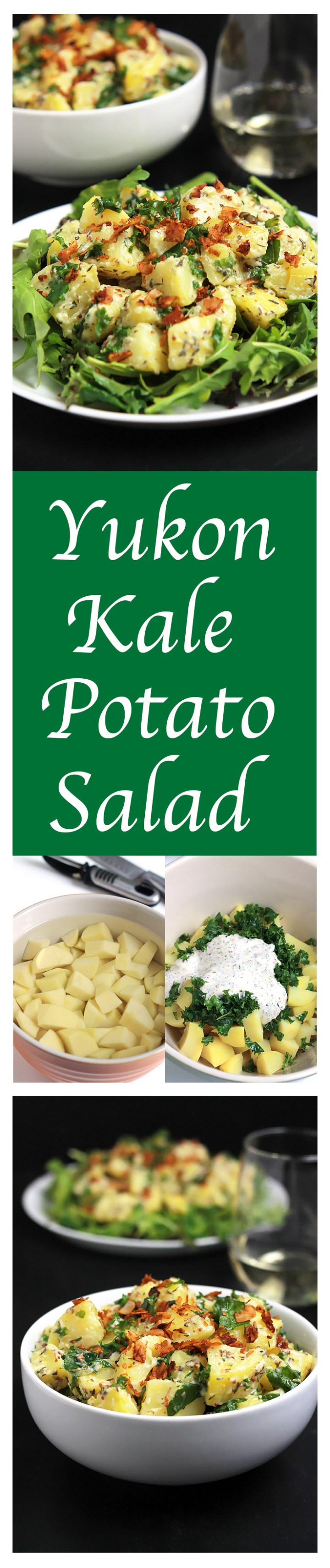 Yukon Kale Potato Salad-Sweet golden potatoes and chopped kale tossed together in a creamy dressing, garnished with a sprinkling of coconut bacon. A delicious twist to a traditional summer side for the vegetarians or vegans in the crowd.