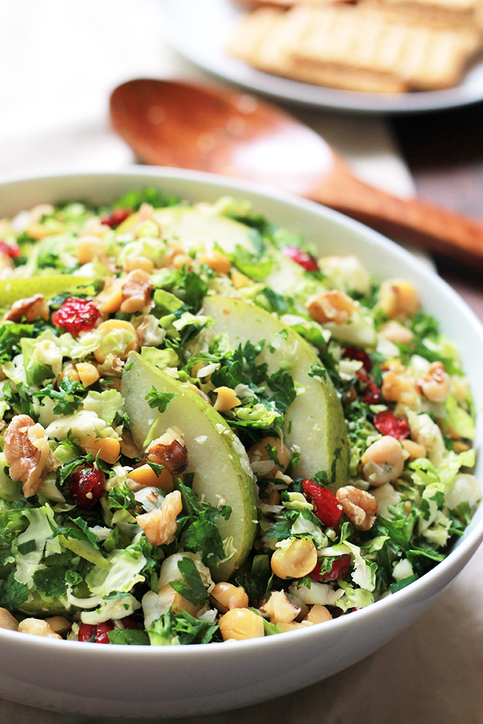 Shaved brussels sprouts thinly sliced pear with a mix of parsley. This simple Pear-Brussels Sprout Salad is fresh, crisp and full of flavor, perfect for warm Spring days.